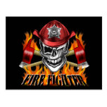 Firefighter Skull: Winking Postcards