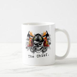 Firefighter Skulls: The Chief. Basic White Mug