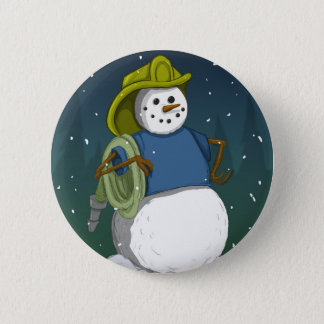 Firefighter Snowman 6 Cm Round Badge