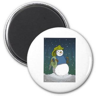 Firefighter Snowman Magnet