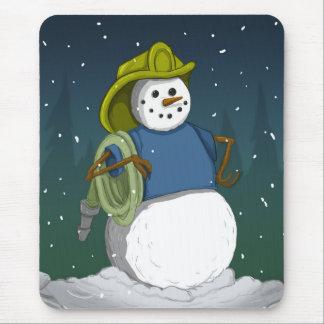 Firefighter Snowman Mouse Mat