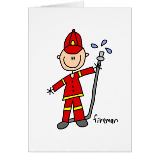 Firefighter Stick Figure Card