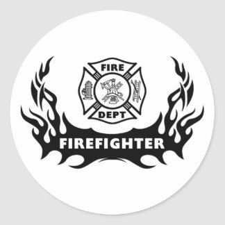 Firefighter Tattoo Classic Round Sticker
