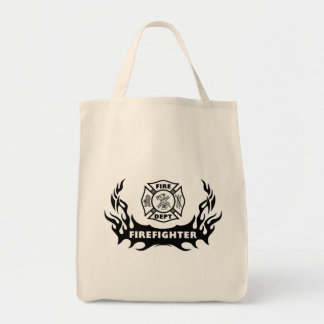 Firefighter Tattoo Grocery Tote Bag