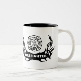 Firefighter Tattoo Two-Tone Mug