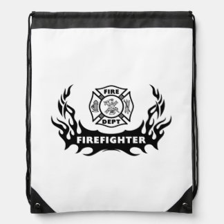 Firefighter Tattoos Drawstring Bags