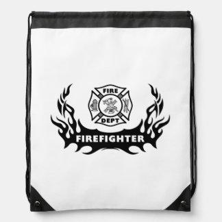 Firefighter Tattoos Drawstring Bags