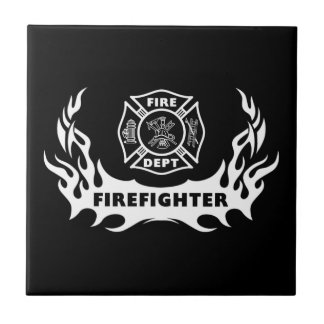 Firefighter Tattoos Small Square Tile