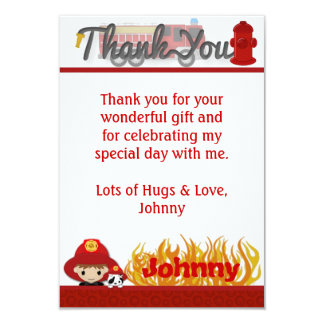 """FIREFIGHTER Thank You 3.5""""x5"""" (FLAT style) FF01A 9 Cm X 13 Cm Invitation Card"""
