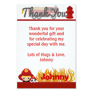 "FIREFIGHTER Thank You 3.5""x5"" (FLAT style) FF01C 9 Cm X 13 Cm Invitation Card"