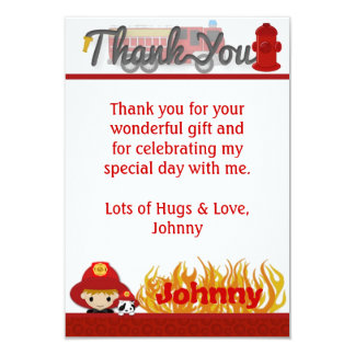"""FIREFIGHTER Thank You 3.5""""x5"""" (FLAT style) FF01D 9 Cm X 13 Cm Invitation Card"""