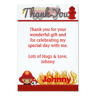 """FIREFIGHTER Thank You 3.5""""x5"""" (FLAT style) FF02A 9 Cm X 13 Cm Invitation Card"""