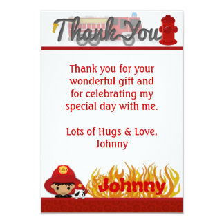 "FIREFIGHTER Thank You 3.5""x5"" (FLAT style) FF02B 9 Cm X 13 Cm Invitation Card"