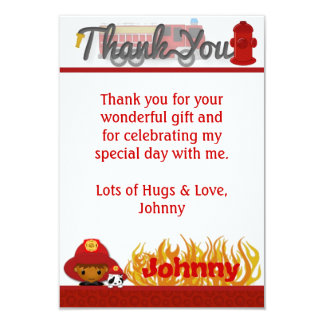 """FIREFIGHTER Thank You 3.5""""x5"""" (FLAT style) FF03A 9 Cm X 13 Cm Invitation Card"""