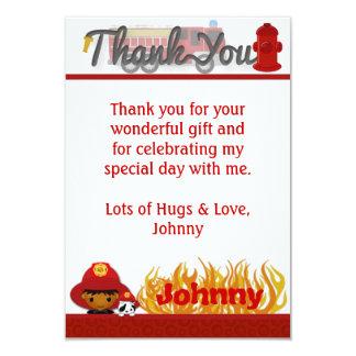 "FIREFIGHTER Thank You 3.5""x5"" (FLAT style) FF03B 9 Cm X 13 Cm Invitation Card"