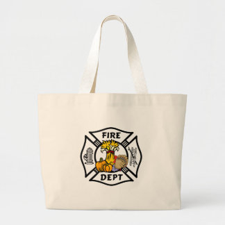 Firefighter Thanksgiving Large Tote Bag