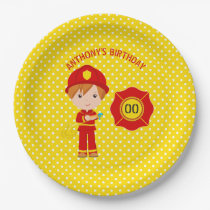 Firefighter themed Birthday Party personalised Paper Plate