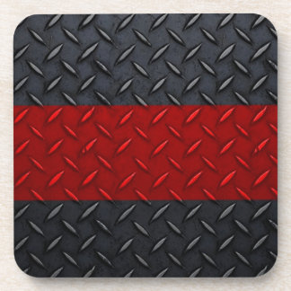 Firefighter Thin Red Line Diamond Plate Coaster