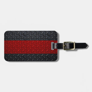Firefighter Thin Red Line Diamond Plate Luggage Tag