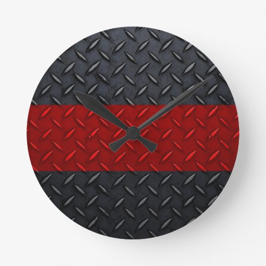 Firefighter Thin Red Line Diamond Plate Round Clock