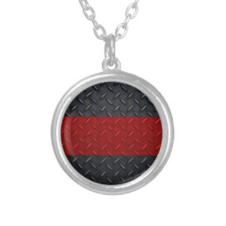 Firefighter Thin Red Line Diamond Plate Silver Plated Necklace