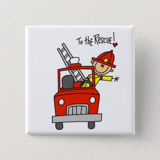 Firefighter To the Rescue Tshirts and Gifts 15 Cm Square Badge