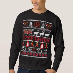 fb5b447068de9 Firefighter Ugly Christmas Sweater Tee Shirt Gifts