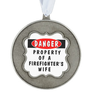 Firefighter Wife Scalloped Pewter Ornament