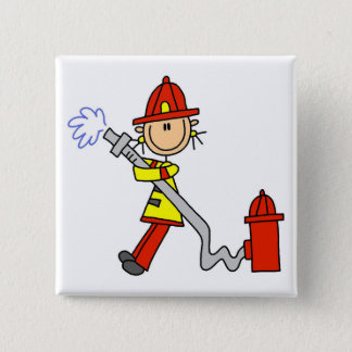 Firefighter with Hose Tshirts and Gifts 15 Cm Square Badge