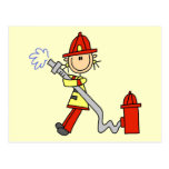 Firefighter with Hose Tshirts and Gifts Postcard