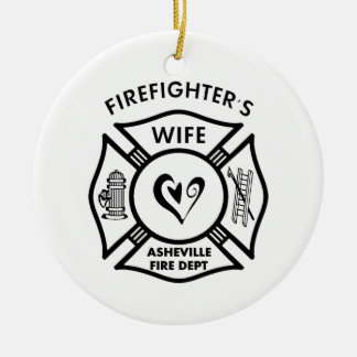 Firefighter Wives of Asheville Fire Dept Round Ceramic Decoration