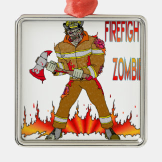 Firefighter Zombie Christmas Ornament