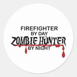 Firefighter Zombie Hunter Round Sticker