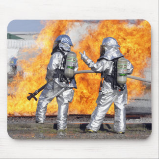 Firefighters battle a simulated fire mouse mat