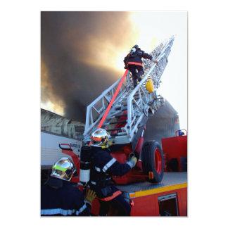 Firefighters Climbing Ladder Card