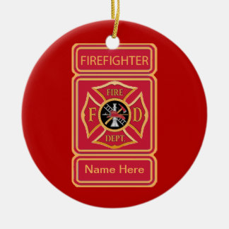 Firefighter's Custom Maltese Cross Logo Round Ceramic Decoration