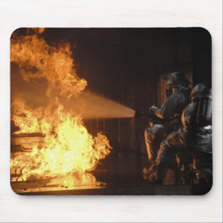 Firefighters extinguish a simulated battery fir mouse mat