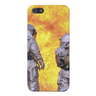 Firefighters extinguish an aircraft fire cover for iPhone 5/5S