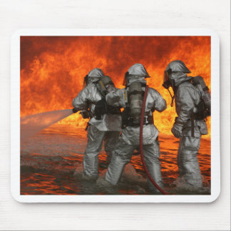 Firefighters fighting a fire mouse mat