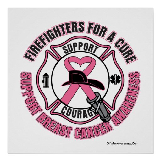 Firefighters For A Cure Breast Cancer Poster