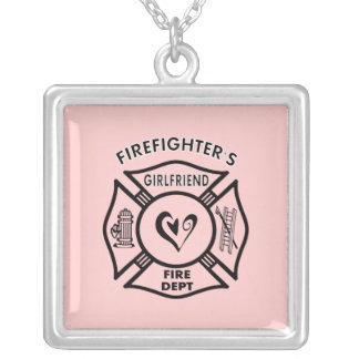 Firefighter's Girlfriend Square Pendant Necklace