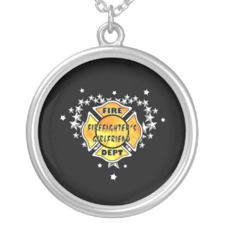 Firefighters Girlfriend Tattoo Round Pendant Necklace