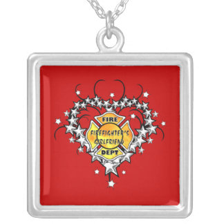 Firefighters Girlfriend Tattoo Square Pendant Necklace