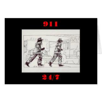 Firefighters in gear card