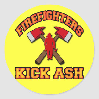 FIREFIGHTERS KICK ASH ROUND STICKERS