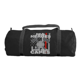 Firefighters Real Heroes Don't Wear Capes Gym Duffel Bag