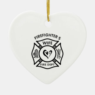 Firefighter's Wife Ceramic Heart Decoration