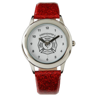 Firefighters Wife Maltese Heart Wrist Watches