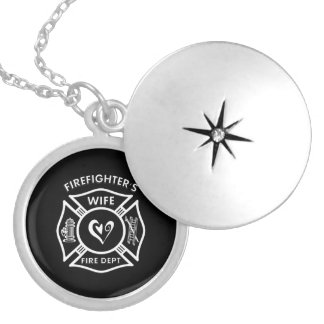 Firefighter's Wife Round Locket Necklace