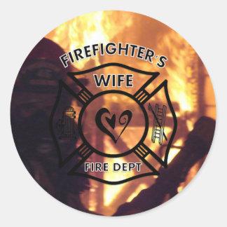 Firefighters Wife Round Sticker